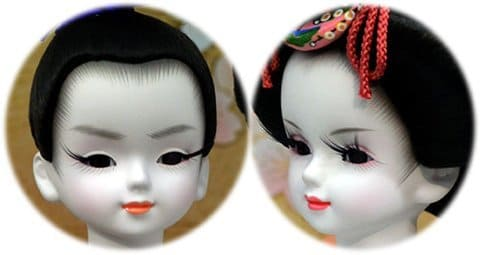 Cara de una muñeca Hina tradicional del Festival Hinamatsuri
