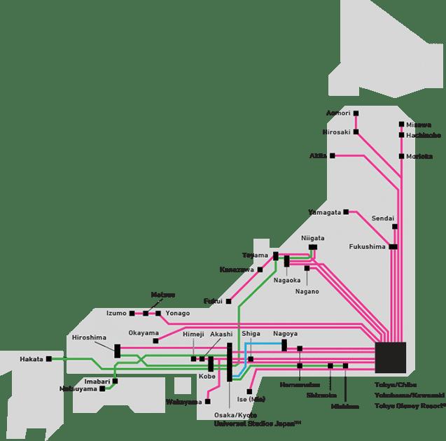 Mapa del Japan Bus Pass
