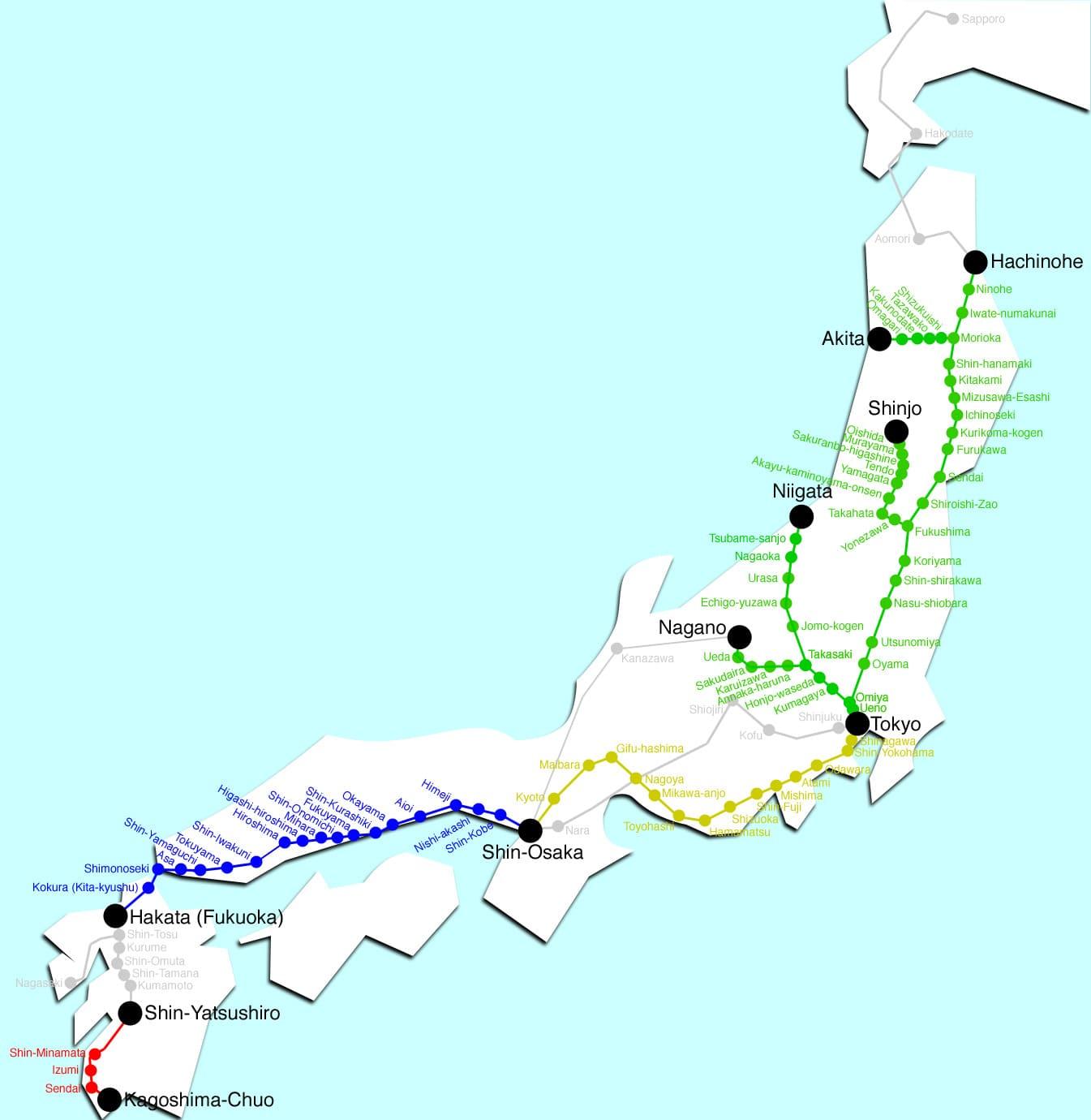 Mapa del Shinkansen