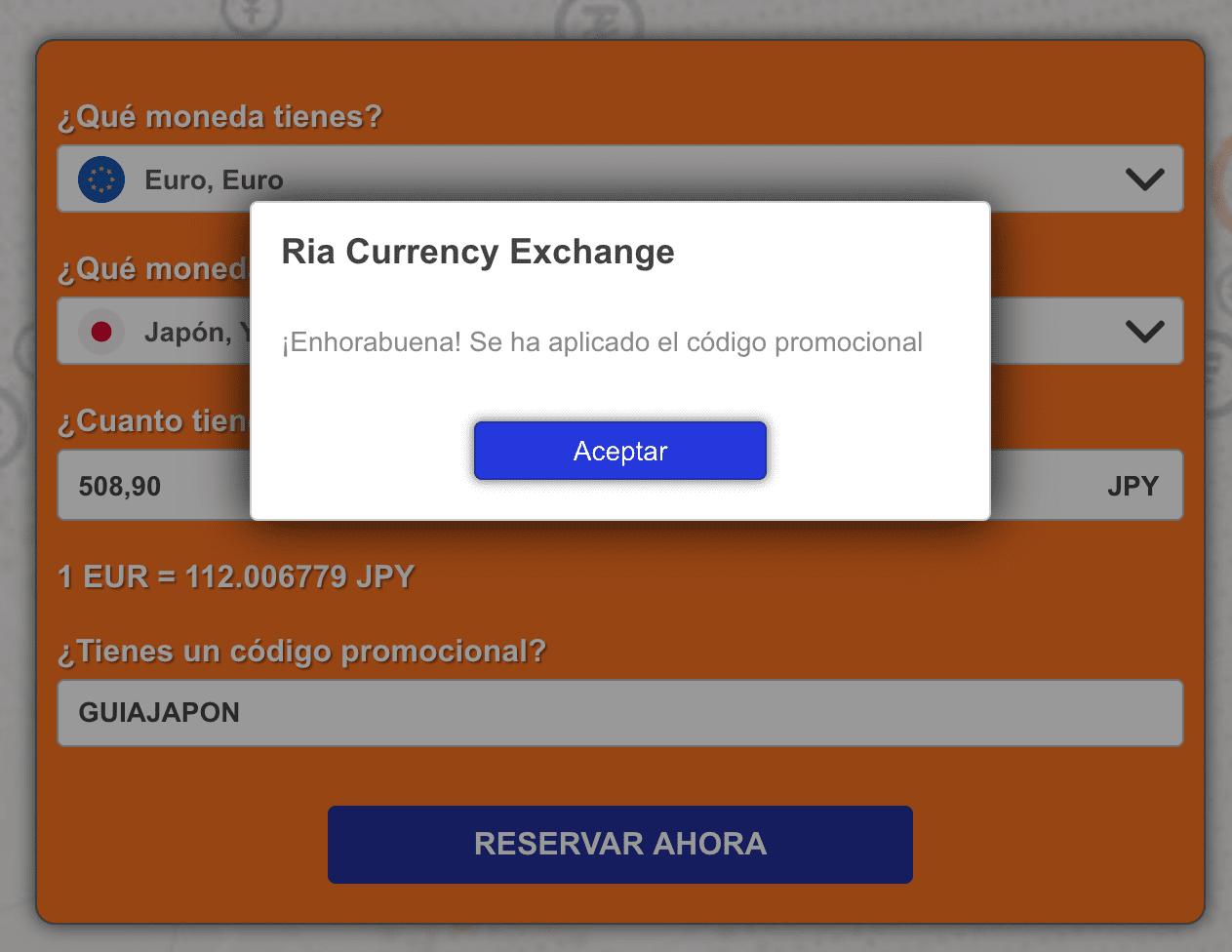 Cambio de moneda: Ria codigo promocional
