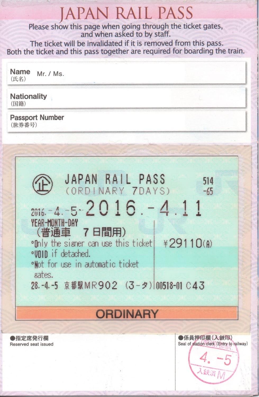 Reverso del Japan Rail Pass