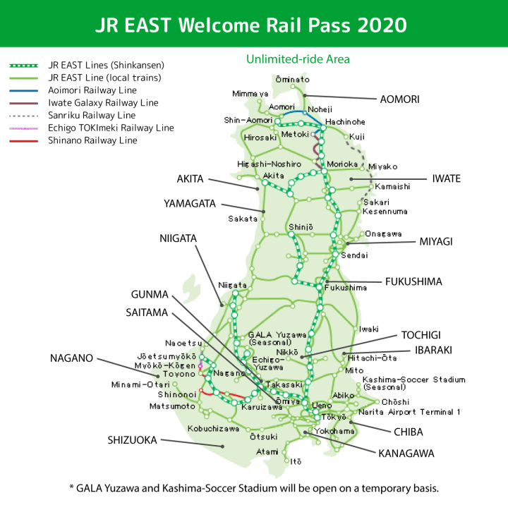 Mapa del JR East Welcome Rail Pass