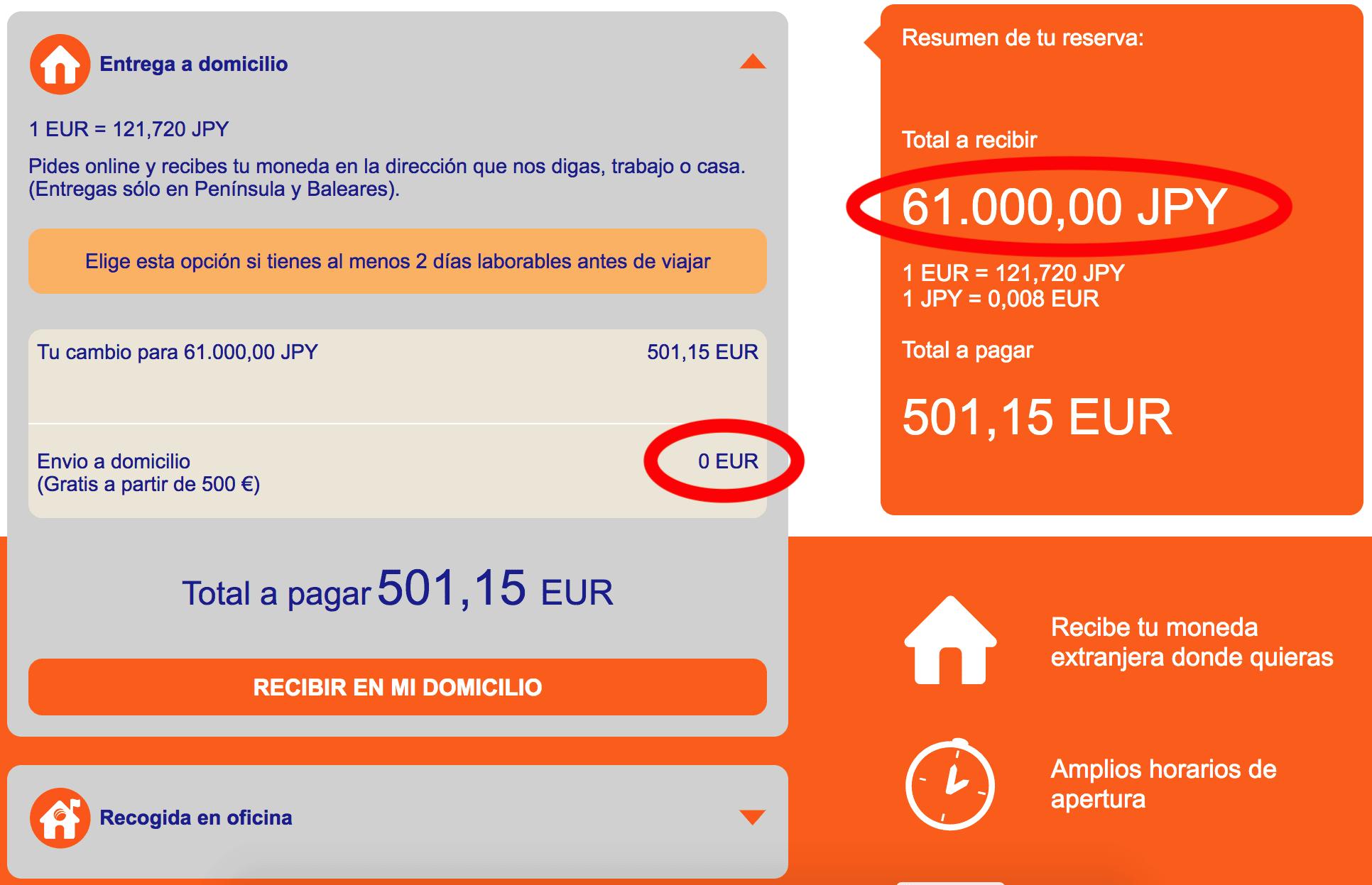 Cambio de divisas online: Pantallazo de Ría Cambio de Divisas 3